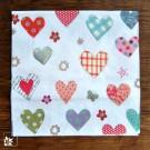 Papierservietten Herzen, bunt. 33 x 33 cm