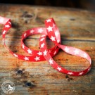 Weihnachtliches Geschenkband mit Sternen, 1,5 cm breit, rot-weiß – Meterware, Preis pro Meter!