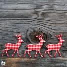 Streu-Hirsche im Hüttenstil. Vichy-Karo Rot-Weiß. 10 Stück