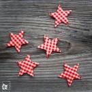 10 Sterne Vichy-Karo Rot Weiß - Lieferung in einer Tüte abgepackt.