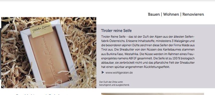 Bauen Wohnen Renovieren - Tiroler Reine Seife bei wohlgeraten