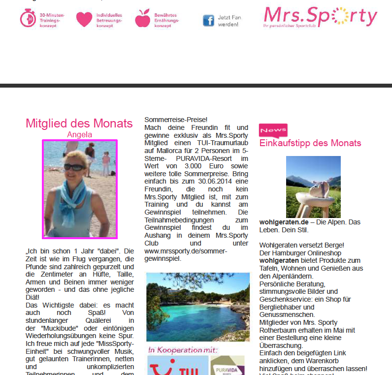 Newsletter Mrs Sporty