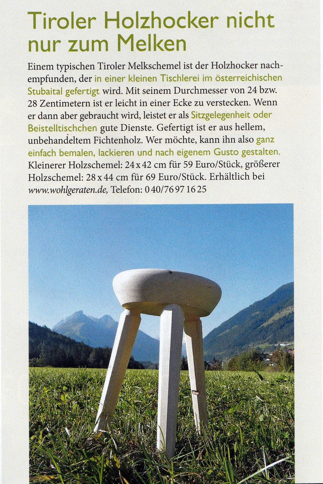 Holzhocker Tirol Land und Berge 042015