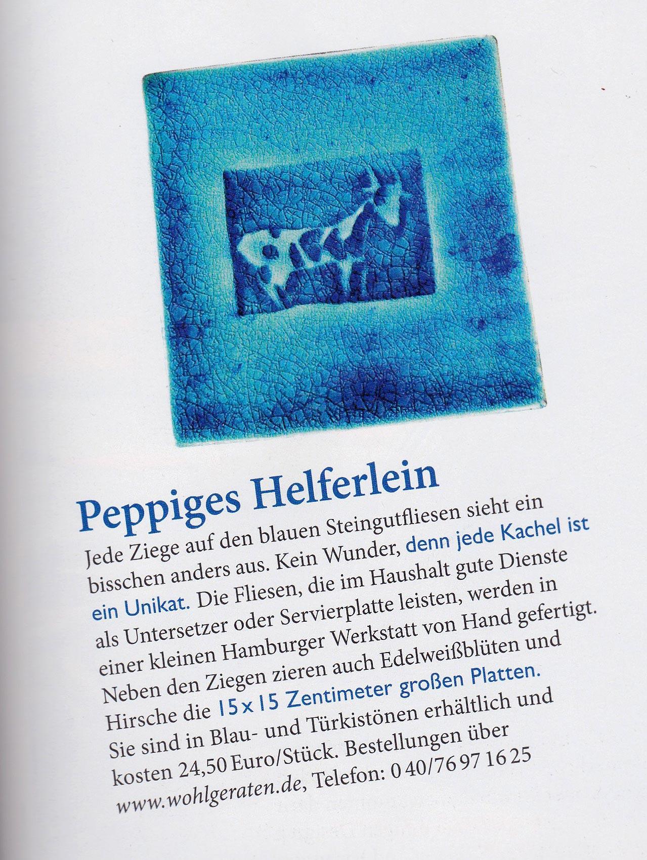 Steingutfliese Ziege Land und Berge 042015