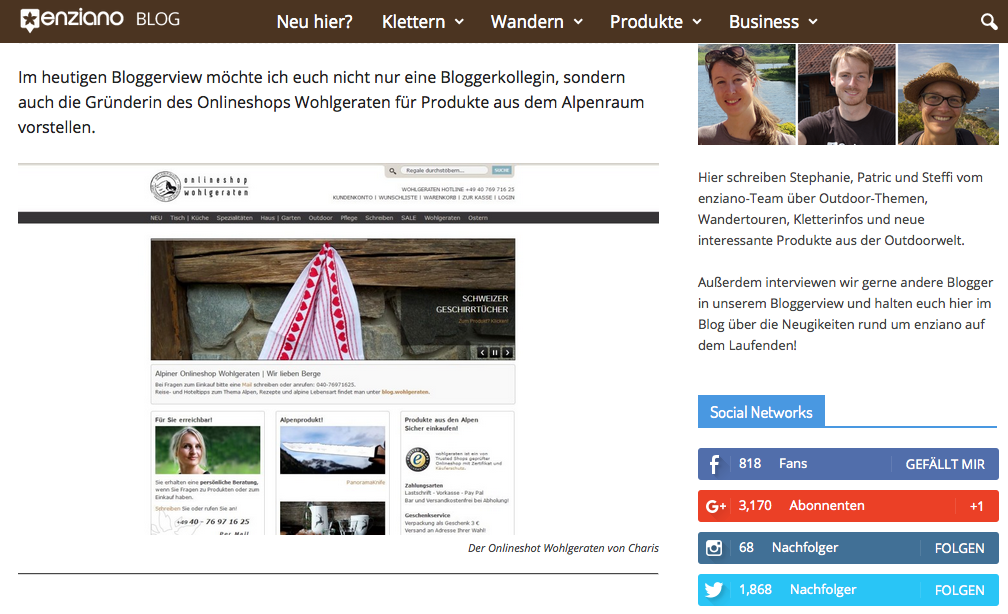 Bloggerview enziano - Onlineshop wohlgeraten