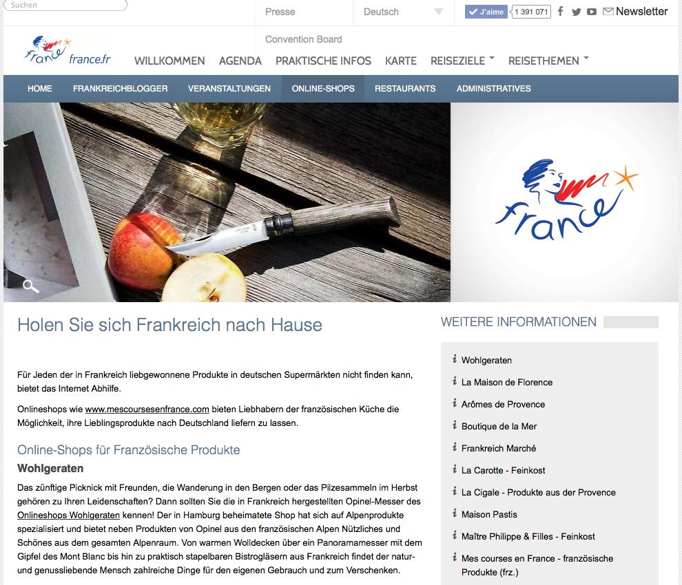 Onlineshop Wohlgeraten - Empfehlung von Frankreich Tourismus